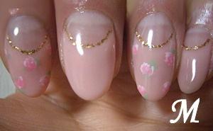 小花柄×深フレンチネイル