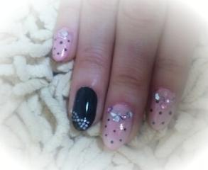 ピンク×黒ドット