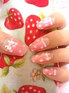Pink Dot & Ribbon Nail