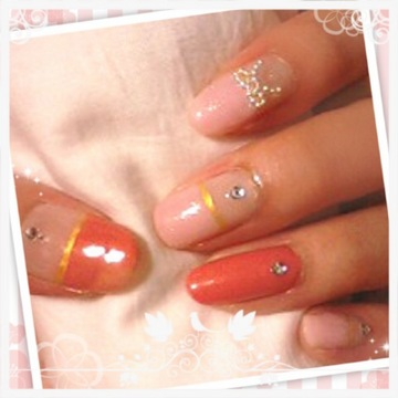 Pink×Coral orange +Ribbon Nail