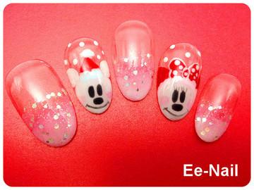 雪だるまミッキー&ミニー☆クリスマスネイル☆