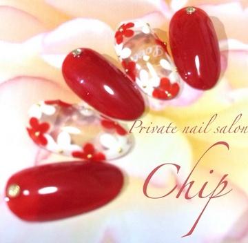 赤と白の囲みフラワーネイル♡神戸市灘区ネイルサロンチップ