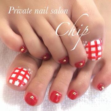 赤ギンガムチェック♡神戸市灘区ネイルサロンチップ