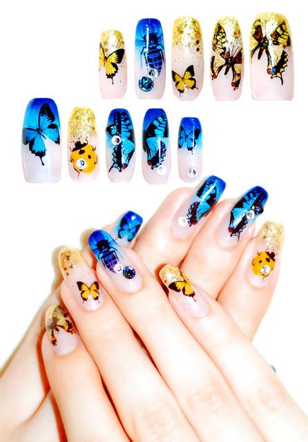青×黄 夏の虫ネイル