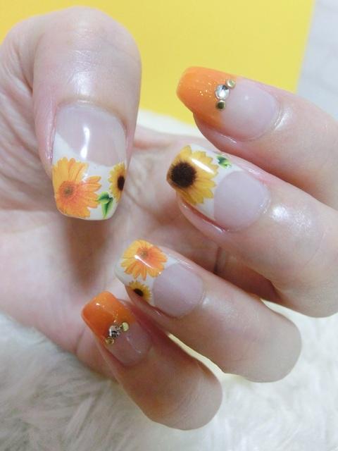 ジェルネイル☆夏のひまわり向日葵×オレンジ