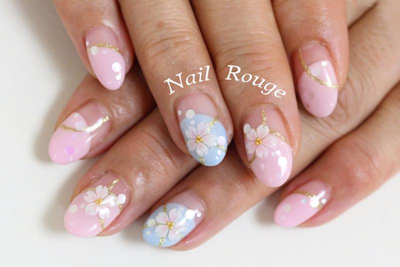 水色×ピンクのフレンチに桜の3Dネイル