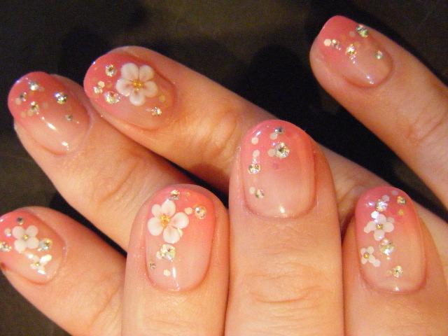 春ネイル♪ジェル90minピンクグラデ花